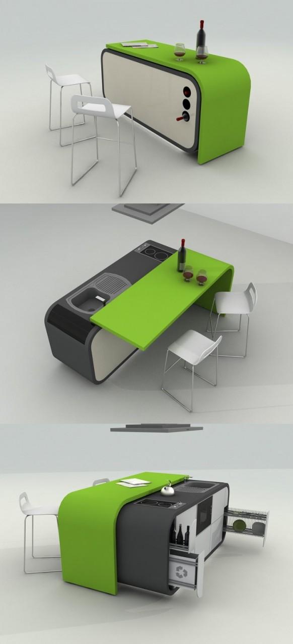 Мебель для экономии места на кухне. Раскладывающийся бар.