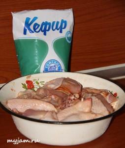 курица и кефир