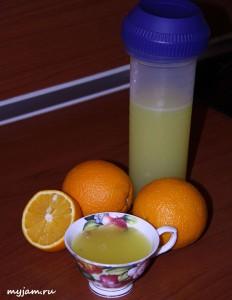 Фотография миксера и киселя из апельсинов