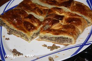 Пирог с мясом простой и быстрый